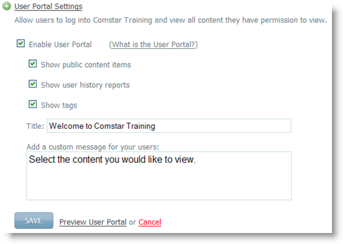 User Portal Settings