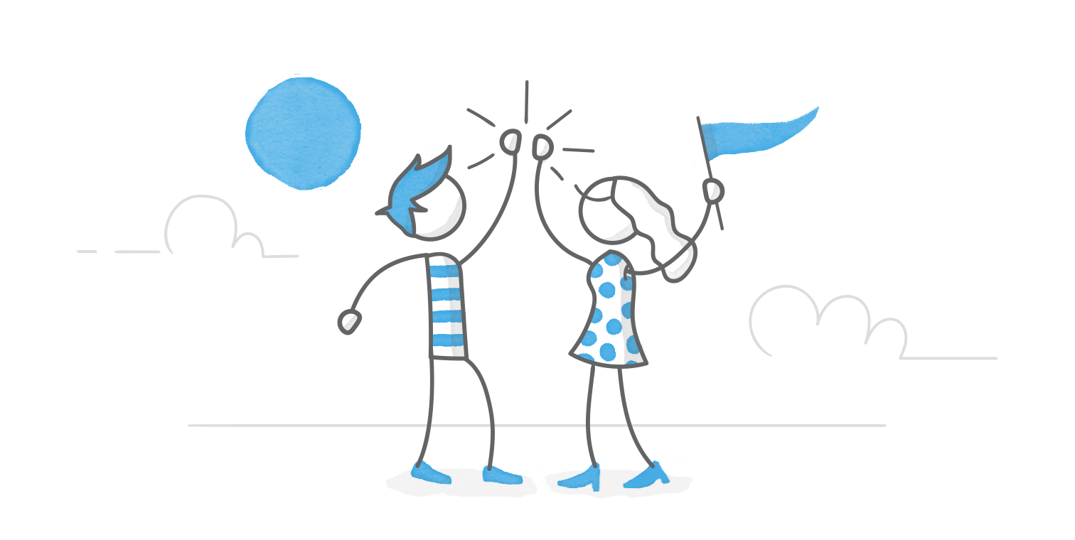 illustrated hero image of two characters giving one another a high-five