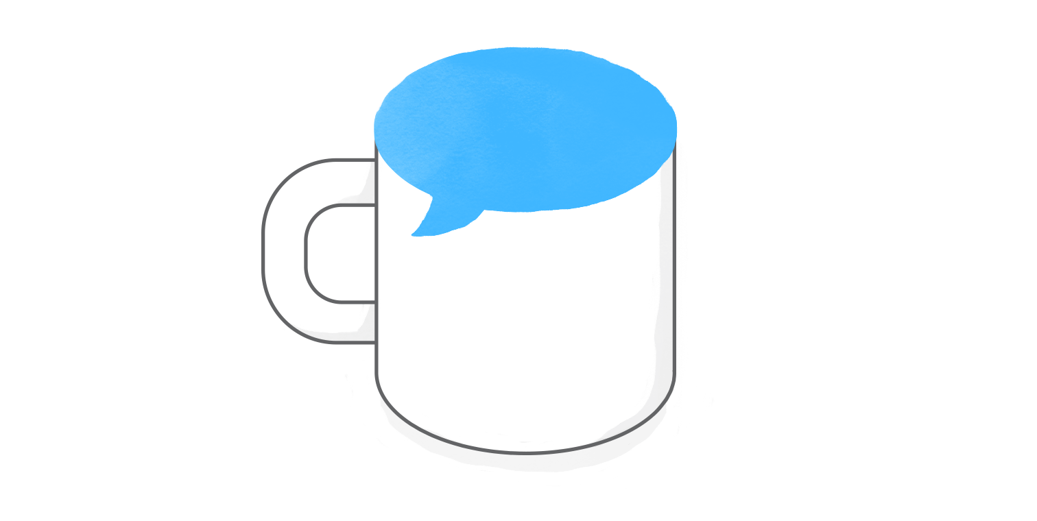 hero illustration of a coffee cup with a blue speech bubble as the mouth