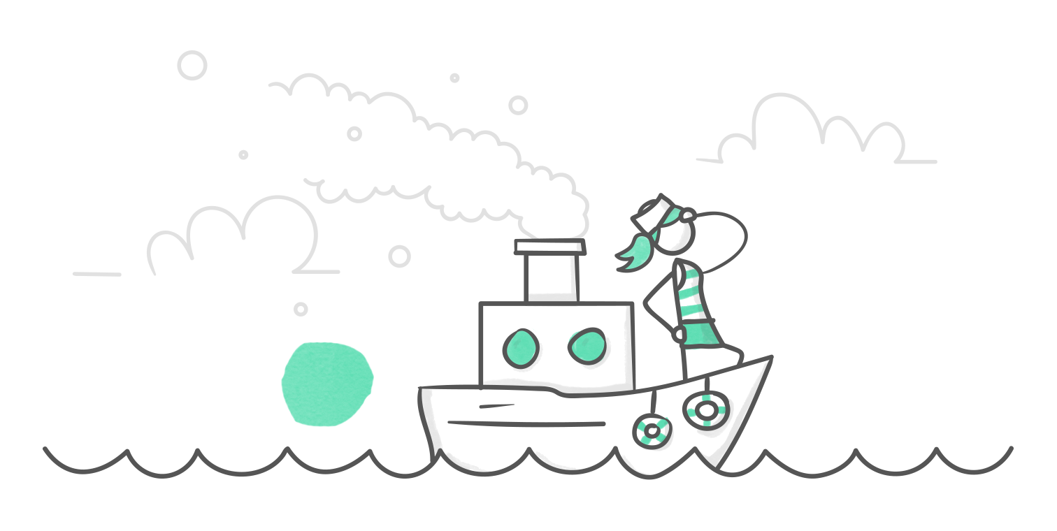 hero illustration of a character standing at the hull of a tugboat