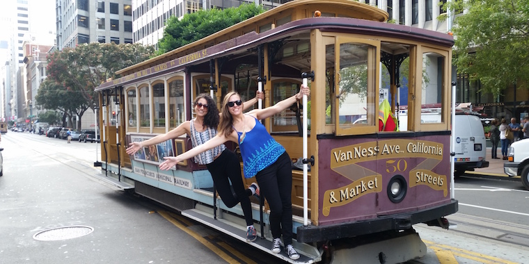 Author Allison with friend and co-worker Nicole on a trolley in San Francisco