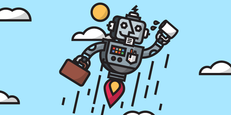 illustrated botzo robot flying into the sky with briefcase and coffee
